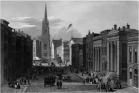 Painting of 1870s New York City busy Street